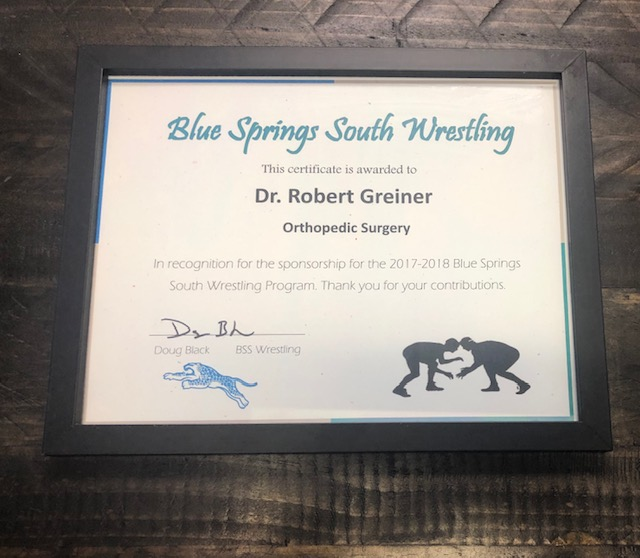 Blue Springs South Wrestling sponsorship